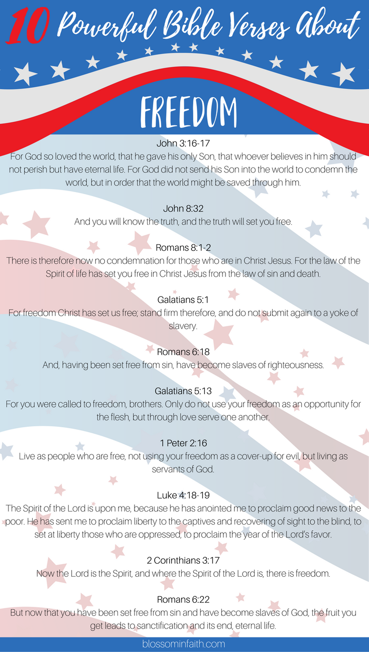 10 Powerful bible verses about freedom. Perfect for Memorial Day & the Fourth of July.