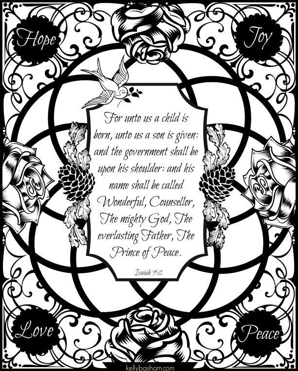 Isaiah 9 6 color sheet