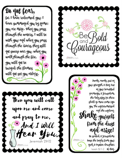 These encouraging scripture cards include powerful verses from the bible to encourage us to be bold, brave,and courageous. Don't give up my friend. Hold onto the truth in God's word and press on. They are printable and free to download.