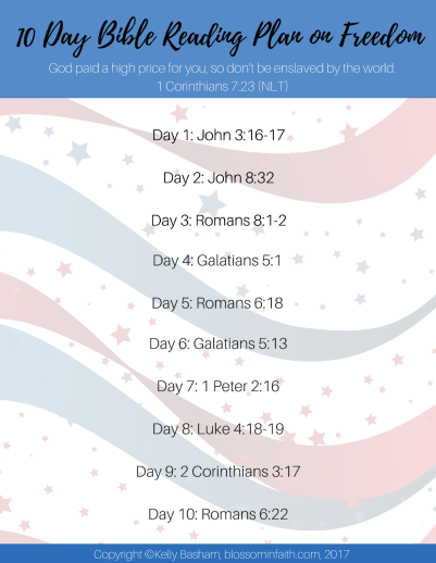 10 Day Bible Reading Plan. Powerful bible verses about freedom. Perfect for Memorial Day & the Fourth of July.
