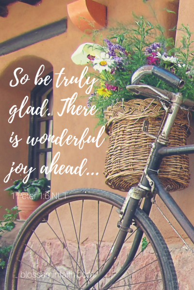 Has God ever asked you to walk away from something you loved? I remember when God asked me to step away from serving in a position at church I enjoyed....So be truly glad. There is wonderful joy ahead... 1 Peter 1:6